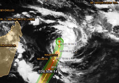 Cyclone edilson sur l'ile maurice en 2014